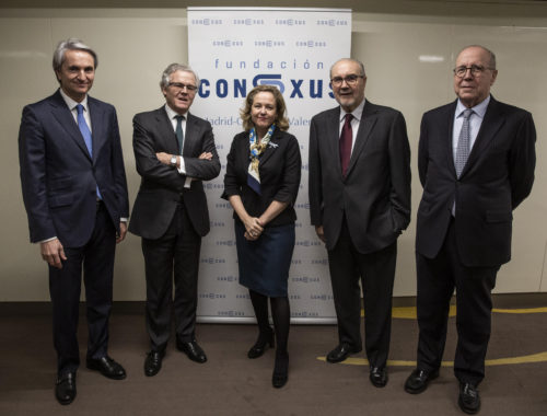 ministra-de-economia-nadia-calvino-ex-vicepresidente-pedro-solbes-presidente-fundacion-conexus-manuel-broseta-comunidad-valenciana